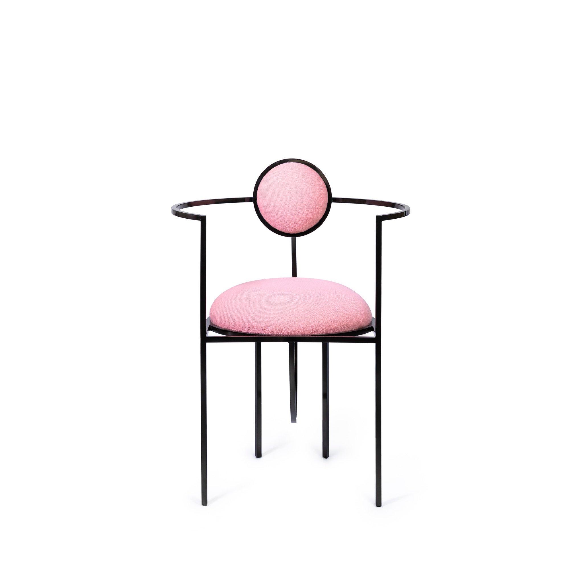 Bohinc Studio Lunar Chair in Steel and Wool, Pink
