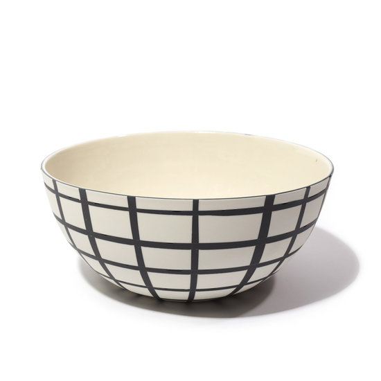 Andrew Molleur Black & White Grid Small Serving Bowl