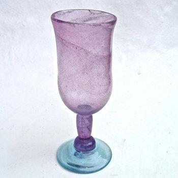 Anselm's Kitengela Hot Glass Studios Purple and Blue Color Blocked Goblet