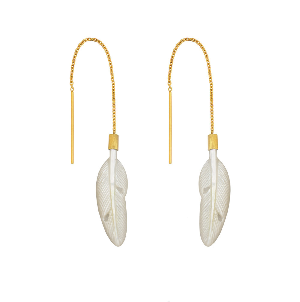 Grainne Morton Thread Through Feather Earrings