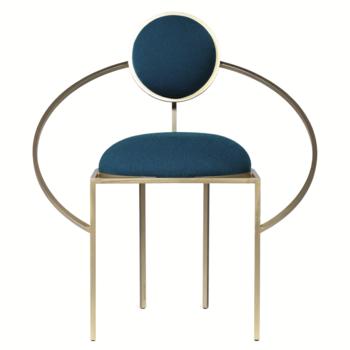 Bohinc Studio Orbit Chair in Steel and Wool, Blue