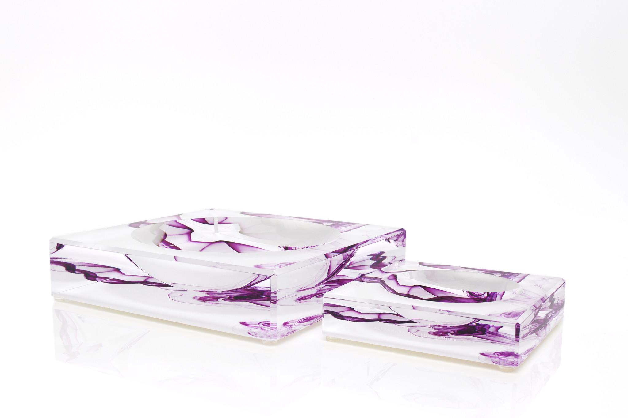 Alexandra Von Furstenberg Large Candy Bowl in Magenta Smoke Print