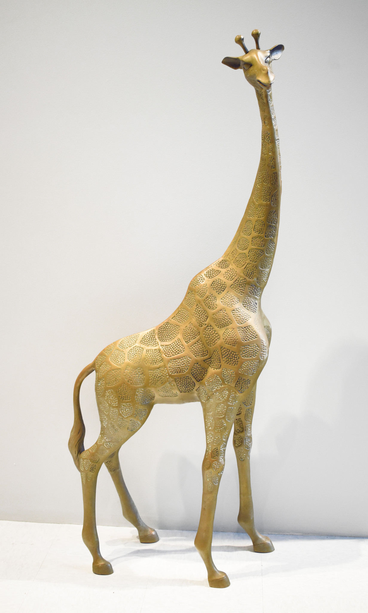 Sergio Bustamante Brass Giraffe Floor Sculpture in the Manner of Sergio Bustamante