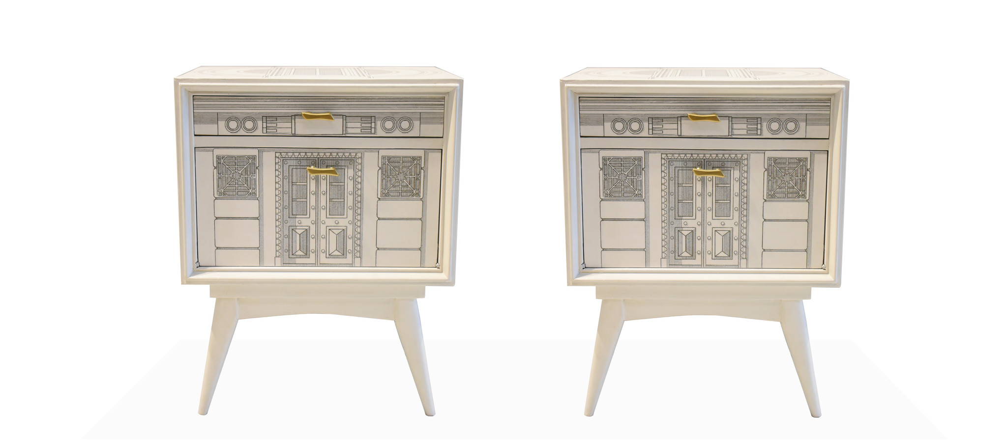 Fornasetti Pair of Italian Nightstands in the Manner of Fornasetti
