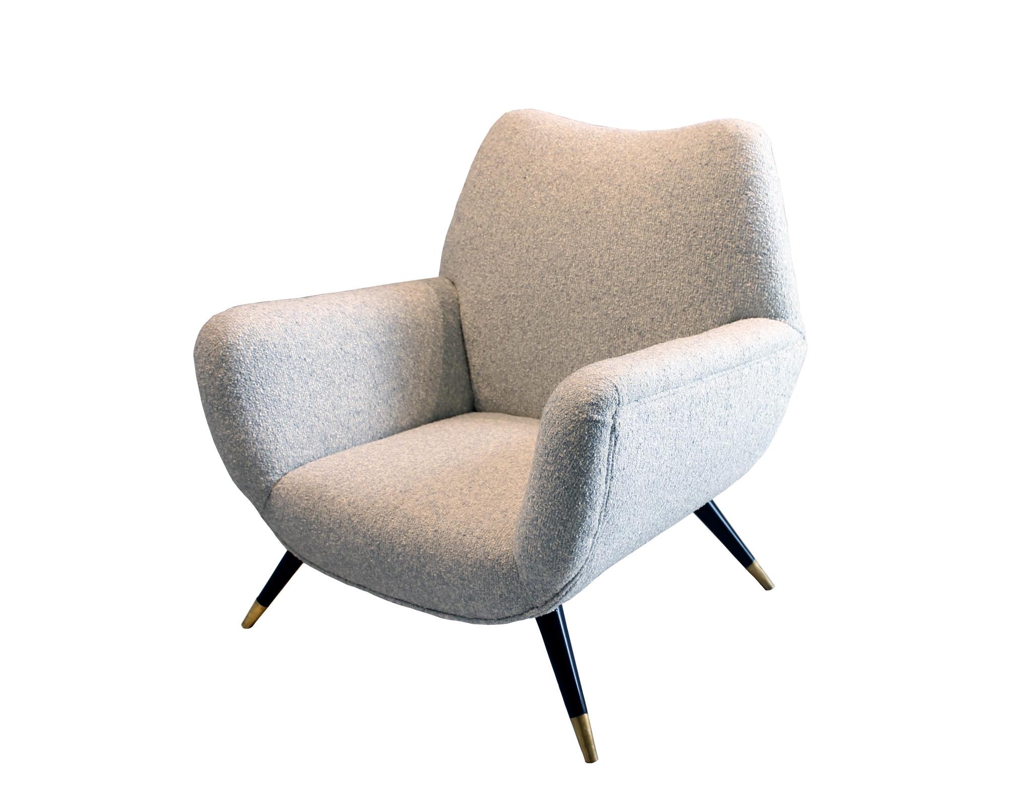 Vintage Pair of Midcentury Italian Upholstered Club Chairs