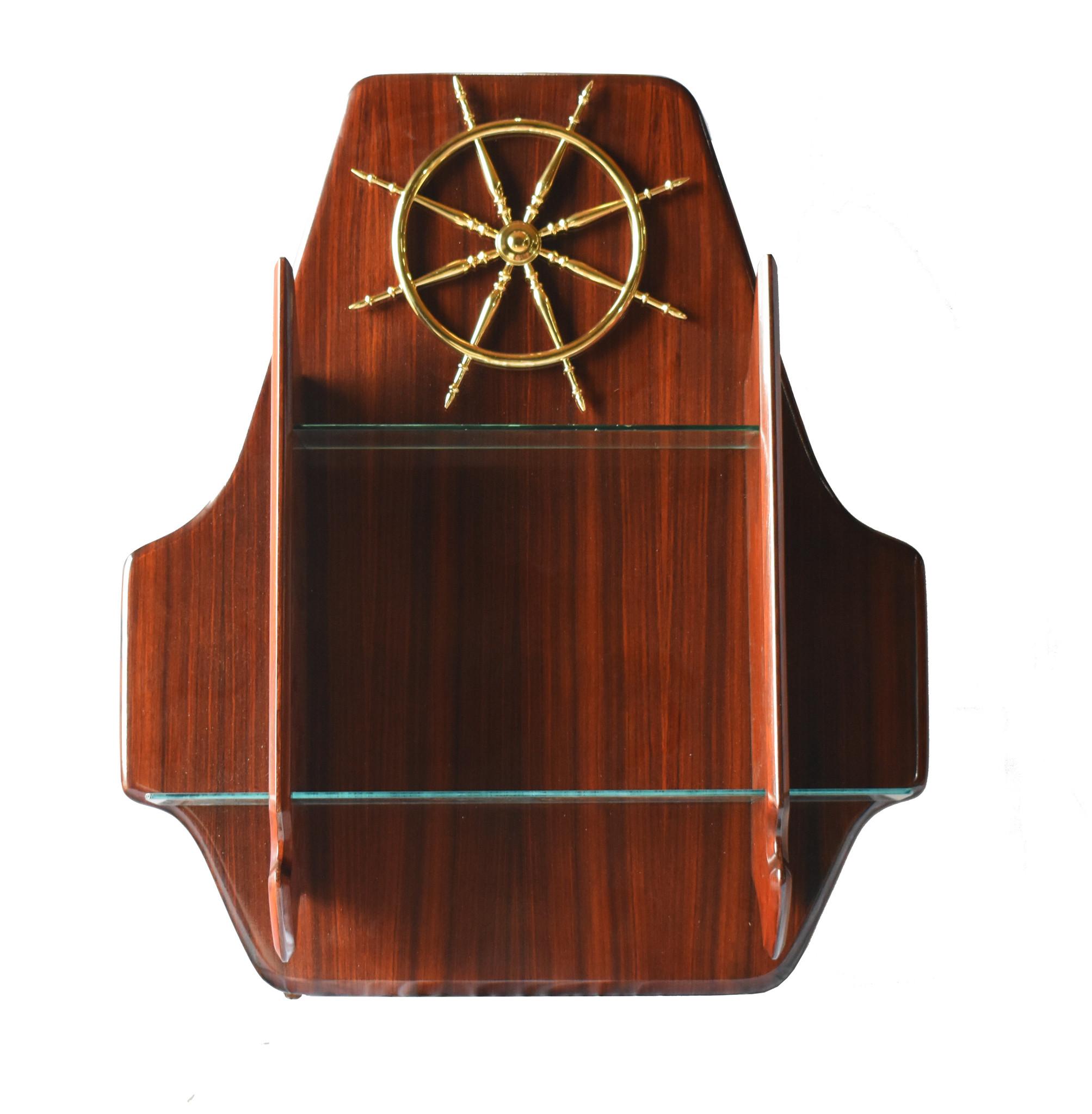 Italian Rosewood & Brass Bar Shelf & Cabinet with Stools