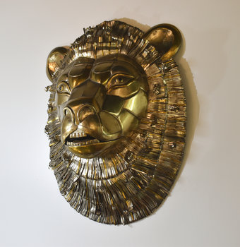 Sergio Bustamante Copper Lion Head Attributed to Bustamante