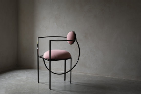 Bohinc Studio Lunar Chair in Steel and Wool, Pink