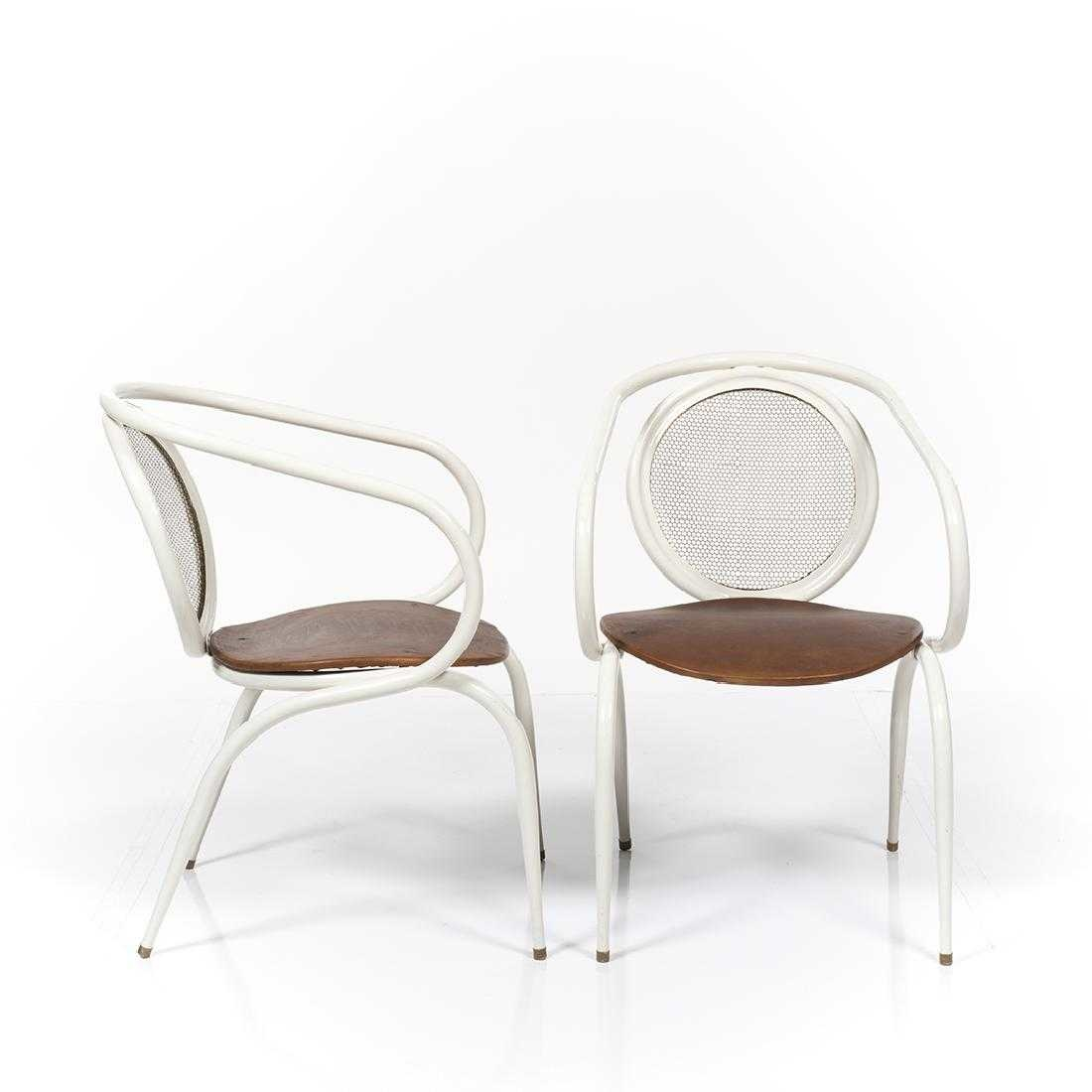 Metal Tubular Armchairs with Leather Seats (Set of 4)