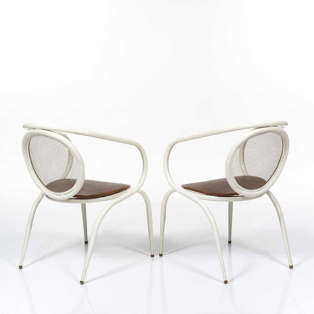 Vintage Metal Tubular Armchairs with Wooden Seats (Set of 4)