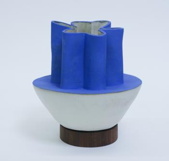 B. Zippy Half Scallop Klein Blue Vase