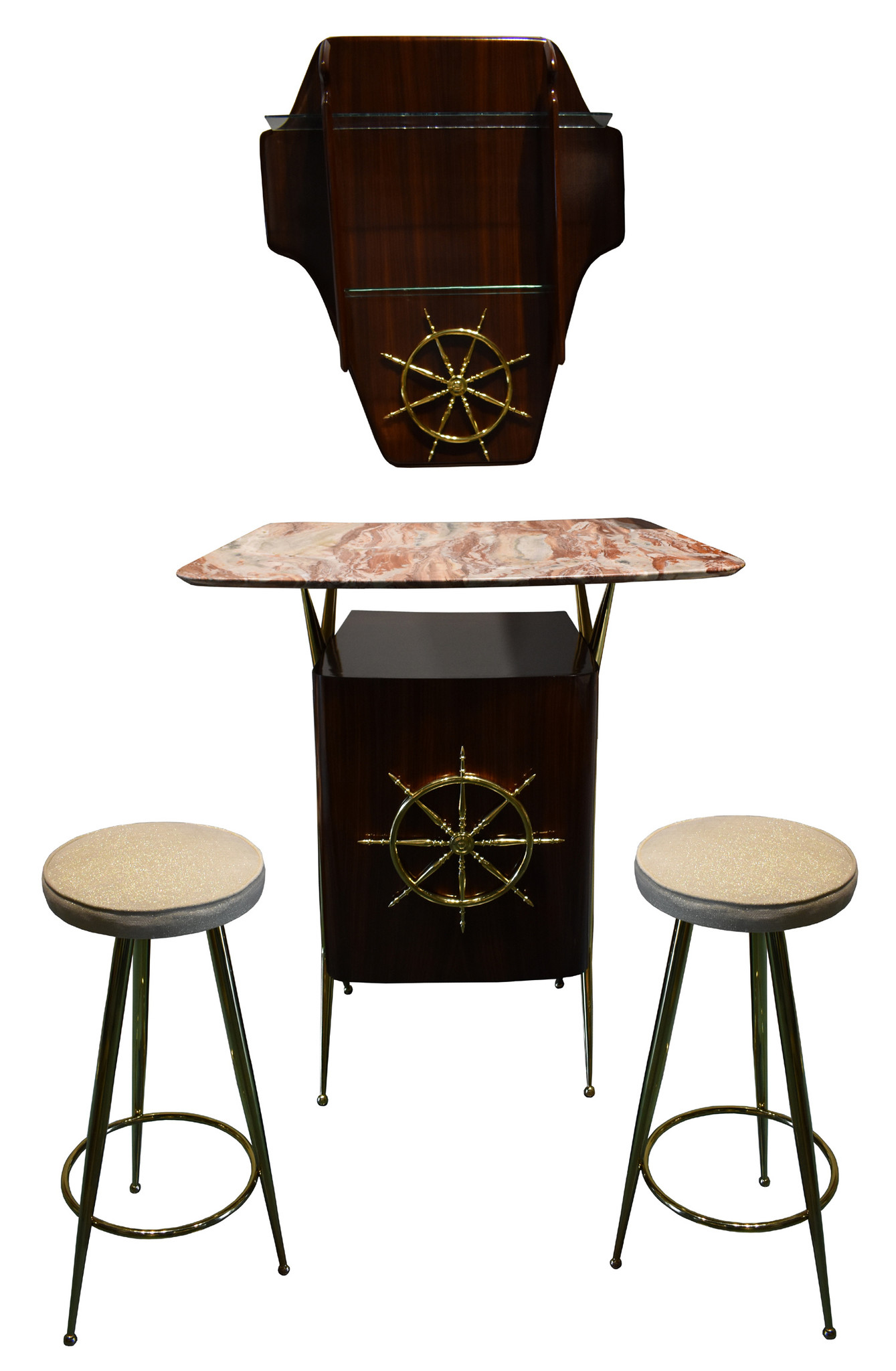 Vintage Italian Rosewood & Brass Bar Shelf & Cabinet with Stools