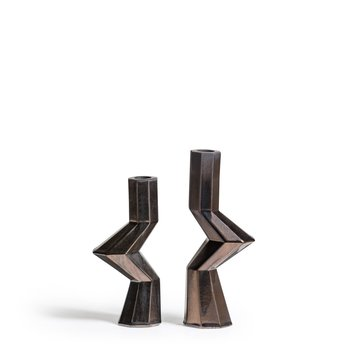 Bohinc Studio Fortress Militia Candleholders in Bronze Ceramic, Set of 2