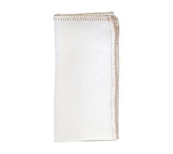 Kim Seybert Crochet Edge Napkin | White & Silver