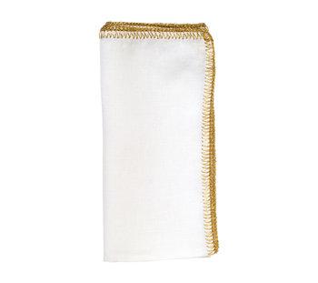 Kim Seybert Crochet Edge Napkin | White & Gold