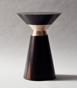 Demuro Das Studio Bolo Side Table in Ziracote with Solid Satin Bronze