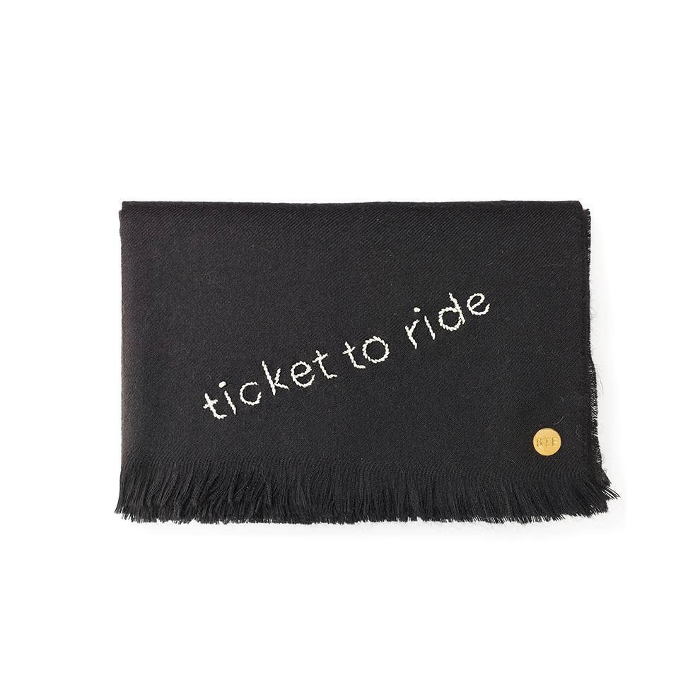 St. Frank Ticket To Ride Embroidered Baby Alpaca Throw