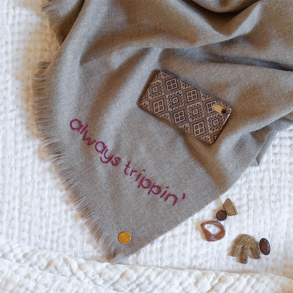 St. Frank Always Trippin' Embroidered Baby Alpaca Throw