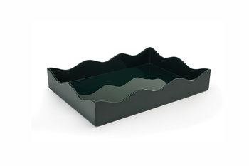 The Lacquer Company Medium Belles Rives Tray - Bottle Green