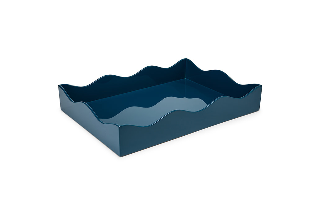 The Lacquer Company Large Belles Rives Tray - Marine Blue