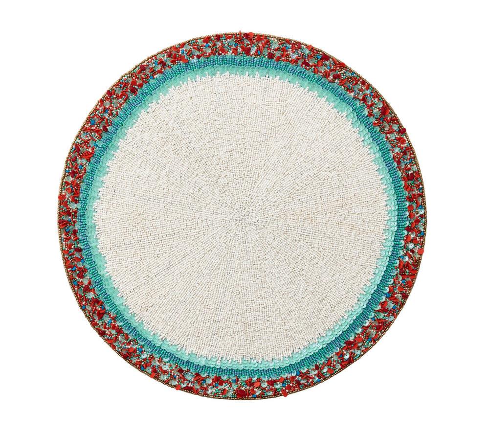 Kim Seybert Amalfi Placemat - White/Turquoise/Coral