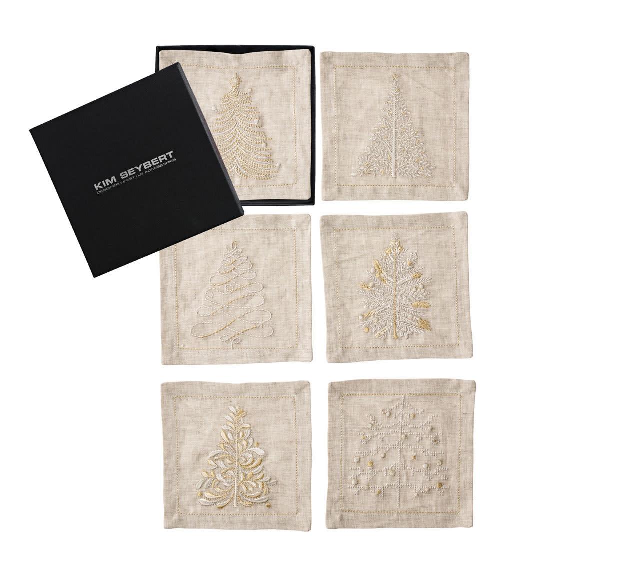 Kim Seybert Winter Wonderland Cocktail Napkins - Natural/Ivory/Gold