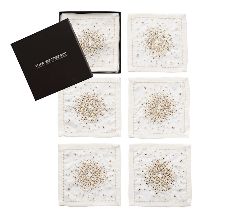 Kim Seybert Starburst Cocktail Napkins - White/Gold/Silver
