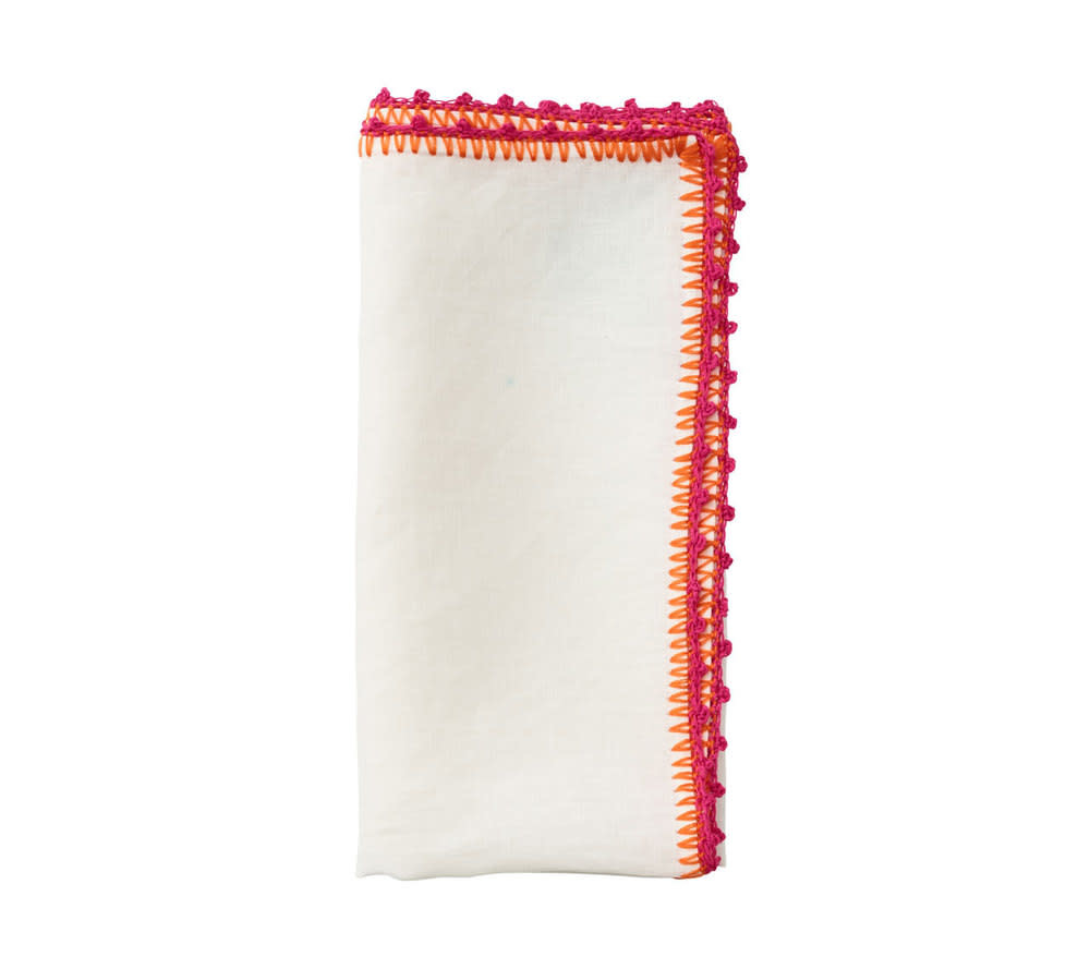 Kim Seybert Knotted Edge Napkin - White/Pink