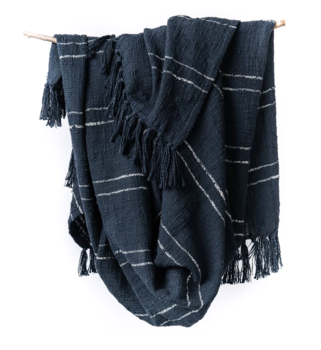 Bloom and Give Nila Hand Woven Throw - Navy