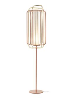 Utu Utu Jules Floor Lamp in Pink Lacquered Metal Structure & Brass Tubes