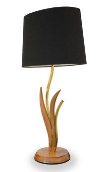 Vintage Pair of Brass, Wood Leaf & Stem Modernist Table Lamps