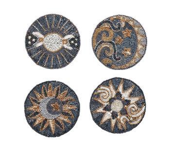 Kim Seybert Coaster: Set of 4 Celestial / Multi