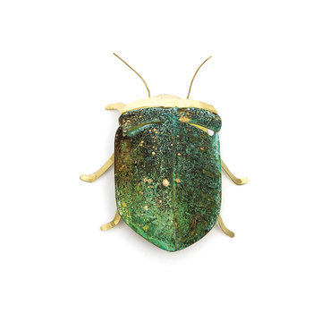 Sibilia Handicraft Brass Bug: Beetle LG Forest