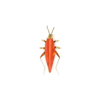 Sibilia Handicraft Brass Bug: Cricket SM Papaya
