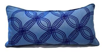 The Grand Tour Lumbar Pillow: Caroline Cecil Fabric / Arja / Navy / Monsoon Fabric