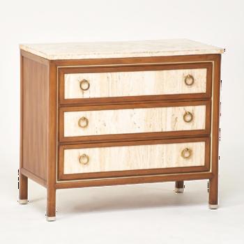 Vintage Travertine, Walnut & Brass Three-drawer Chest