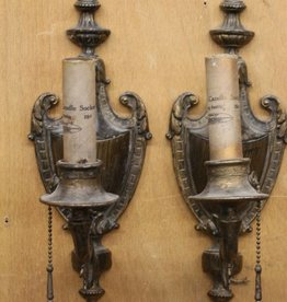 Pair of Antique Bronze Wall Sconces with Urn Motif