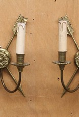 Pair of Vintage Brass Wall Sconces with Crossed Arrow Motif