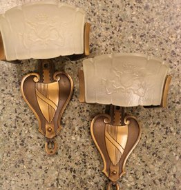 Pair of 1920's brass wall sconces, with Slipper Glass and Coat of Arms motif