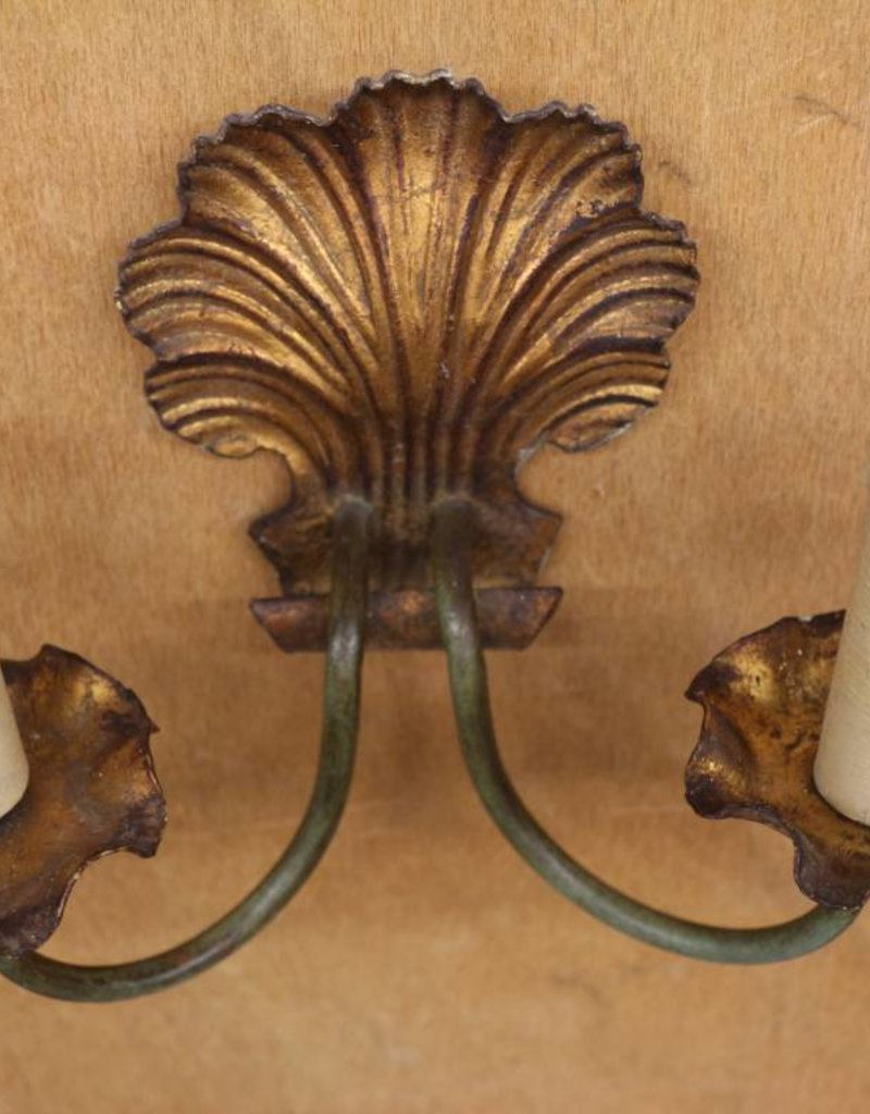 Pair of 1930's brass wall sconces, with shell motif, painted gold and green