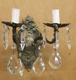 Sconce, Vintage brass, with crystal pendants