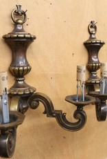 Vintage traditional Edwardian heavy bronze wall sconces
