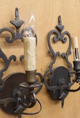 "New pair of ""antique brass"" wall sconces, with fleur de lis pattern"