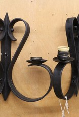 Pair of Vintage Black Iron Wall Sconces