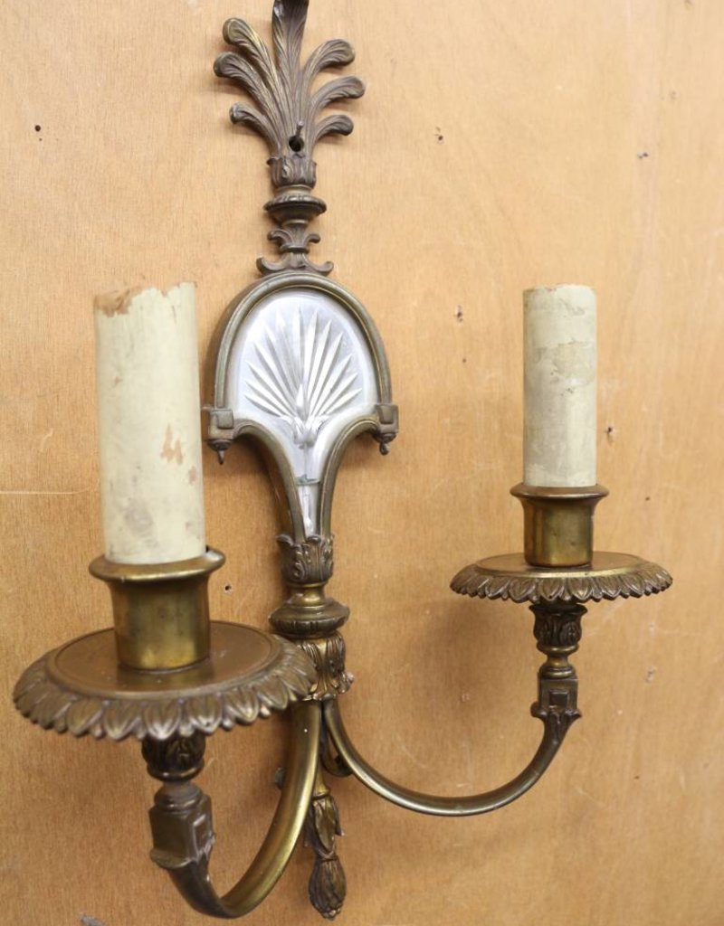 Antique 1920s Wall Sconce, 2 Light, Brass, with Etched Mirror, Anthemion