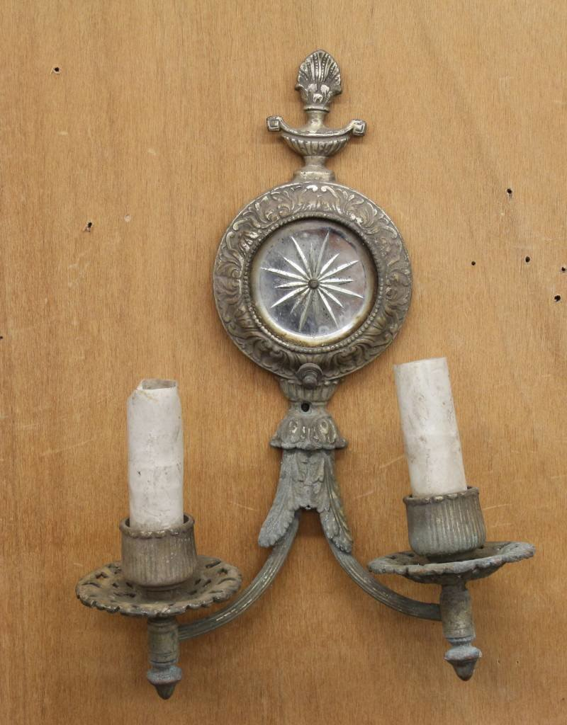 Antique 1920s Wall Sconce, 2 Light, Brass, with Etched Mirror, Rosette Motif