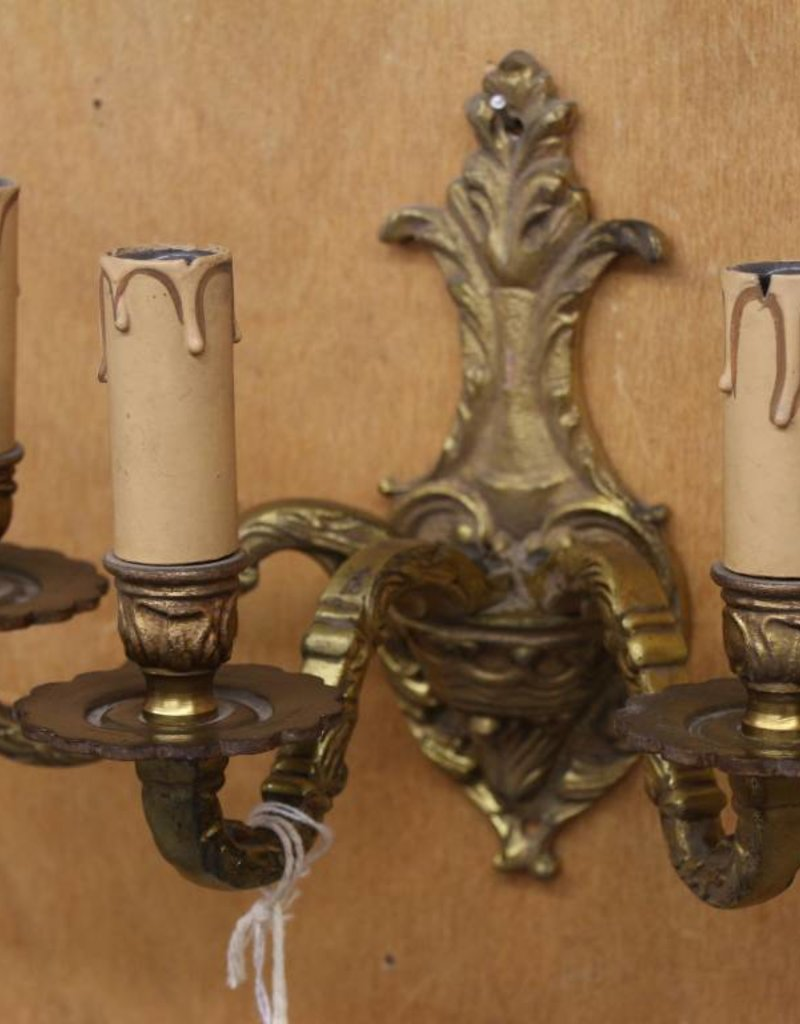 Antique Wall Sconce, 3 Light, Brass, Anthemion Motif