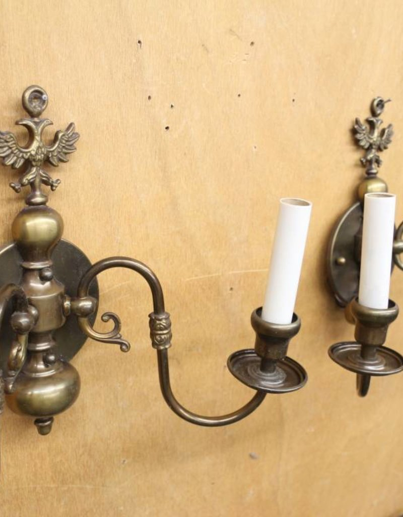 Pair of Vintage Wall Sconces with Double-Headed Eagle Motif in Antique Brass Finish