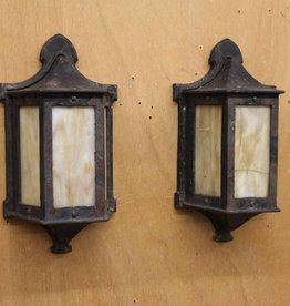 Pair of Vintage Flush Mount Outdoor Lantern Style Wall Sconces, Black Iron