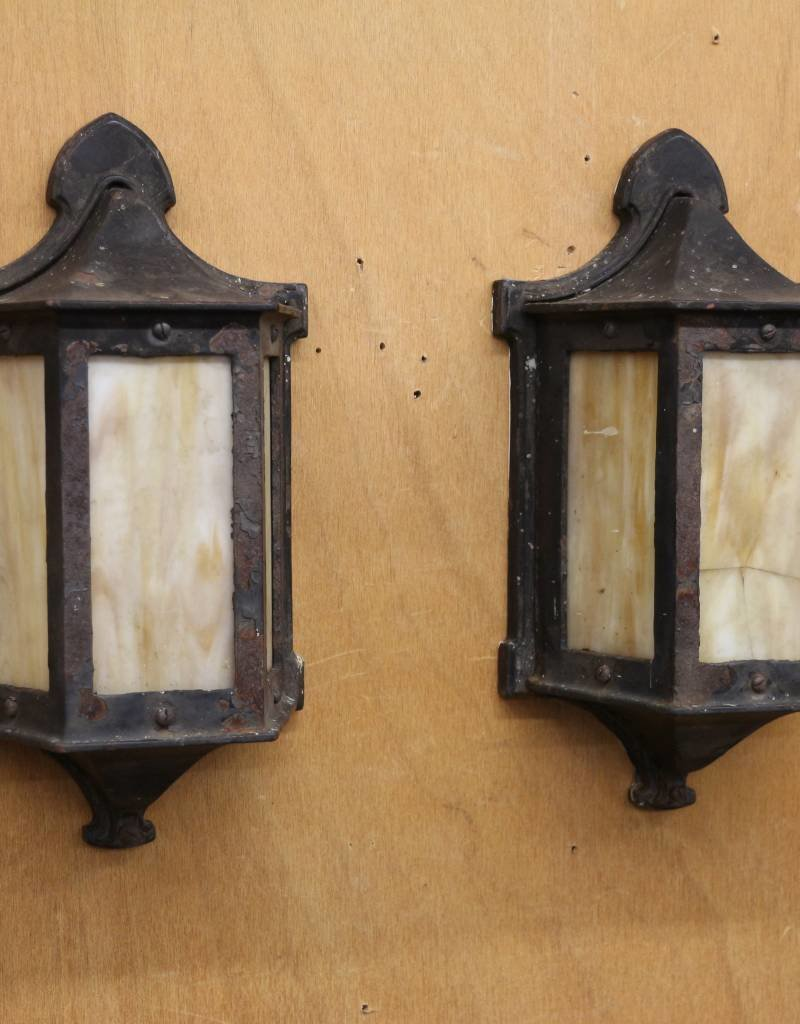Pair Of Vintage Flush Mount Outdoor Lantern Style Wall Sconces Black Iron